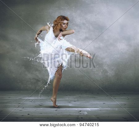 Ballerina with dress of milk