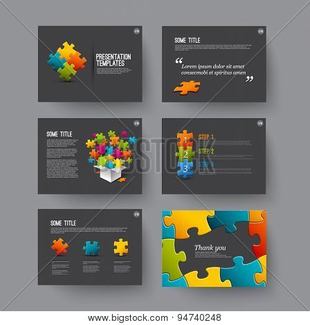 Vector Template for presentation slides with puzzle pieces and colorful elements - dark version