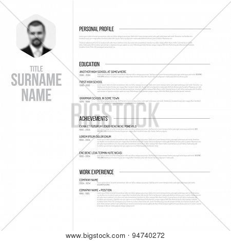 Vector minimalist black and white cv / resume template design with profile photo