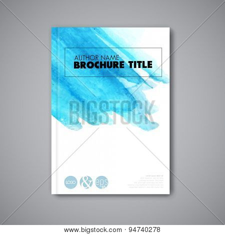 Modern artistic Vector abstract book watercolor cover template - light blue version
