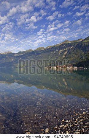 Brienz reflection at the lake in Switzerland