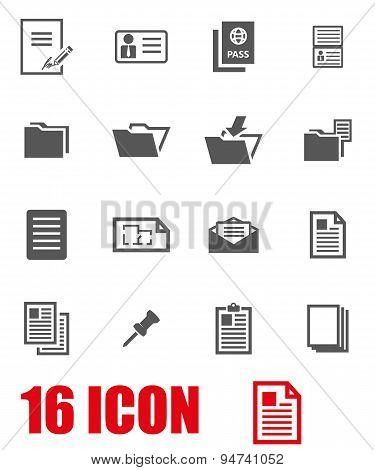 Vector grey document icon set