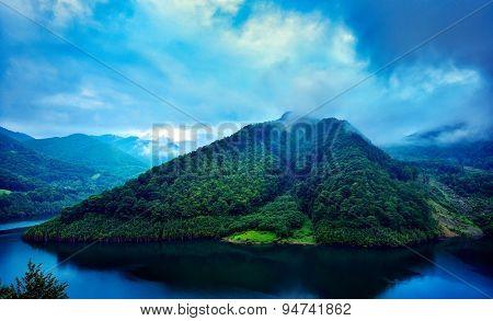 beautiful landscape from Siriu barrage, Buzau, Romania