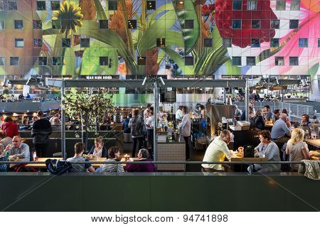 Rotterdam, Netherlands - May 9, 2015: People Shopping At Markthal (market Hall) In Rotterdam
