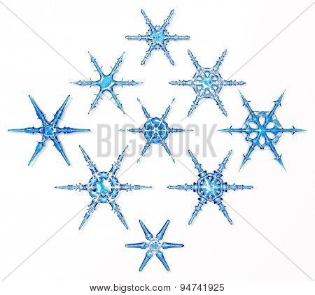 3d generated ice snowflakes set