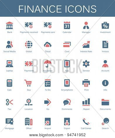 Banking services and finance tools icons. Modern vector pictograms