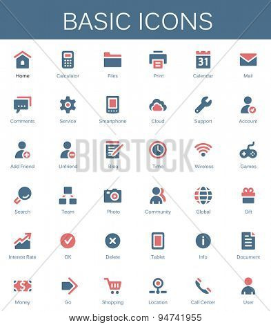Basic web icons. Modern vector pictograms
