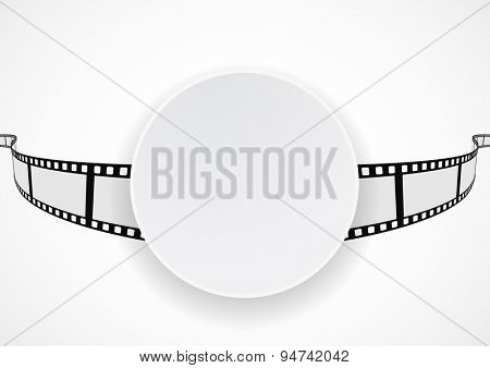 white banner on film reel strip abstract background