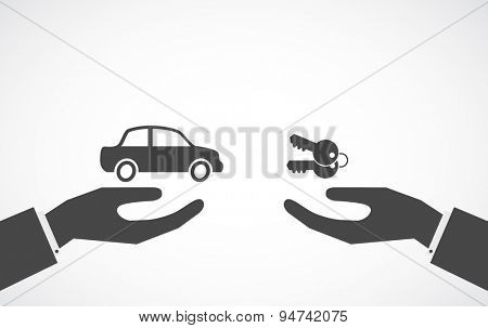 hand giving car and hand giving keys - concept