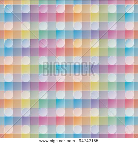 Overlap and transparent circles and squares. Colorful seamless background. Vector EPS10 tileable pattern.