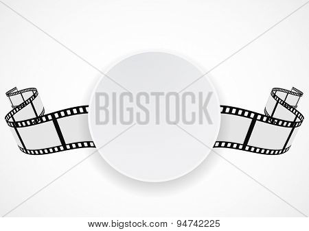 film reel strip round label banner design
