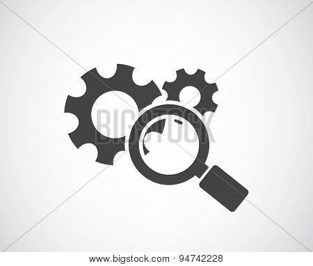 magnifying glass and gears icon - conceptual background