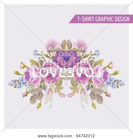 Vintage Flowers Graphic Design - for t-shirt, fashion, prints - in vector
