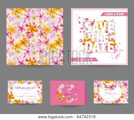Save the Date Wedding Card - Tropical Flowers Theme - in vector