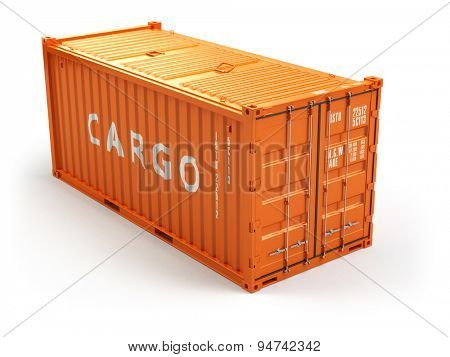 Cargo shipping container isolated on white. Delivery. 3d