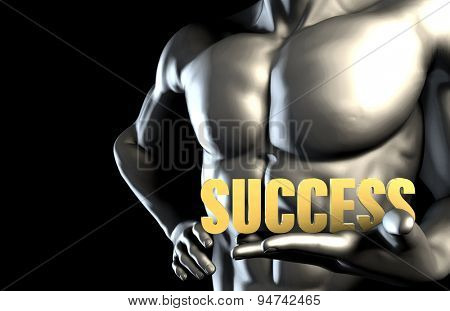 Success With a Business Man Holding Up as Concept