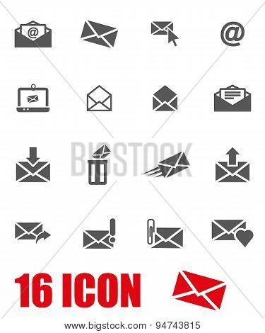 Vector grey email icon set