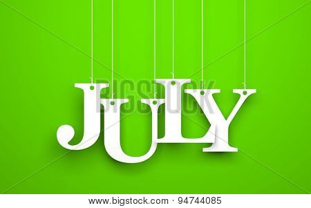 Word JULY hanging on the ropes