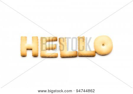 Word hello biscuit isolated on white background