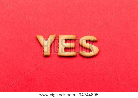 Word yes biscuit over the red background