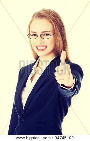 Young blonde happy businesswoman smiling