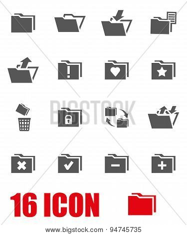 Vector grey folder icon set