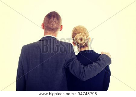 Young businessman embrace his partner