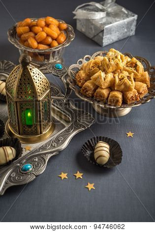 Eid and ramadan festive food and elements. Various festive special food with lantern.
