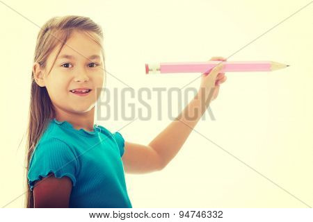 Little pretty girl with a pencil