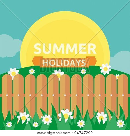 Summer garden scene with wooden fence. Vector background for your design