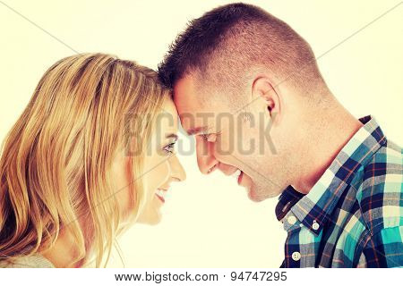 Young beautiful couple eye conact