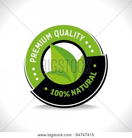 100% natural label.Vector illustration