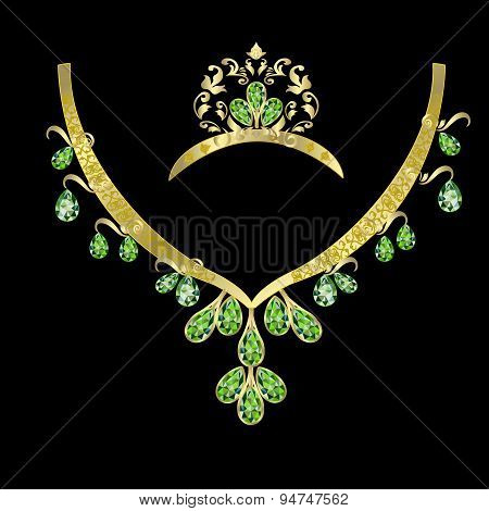 necklaces and a crown with emeralds