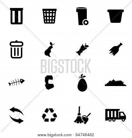 Vector black garbage icon set