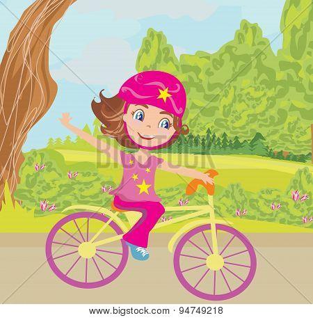 Cute Happy Girl Riding A Bike