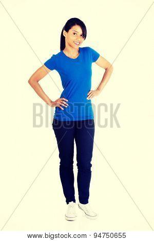Happy woman wearing blue shirt