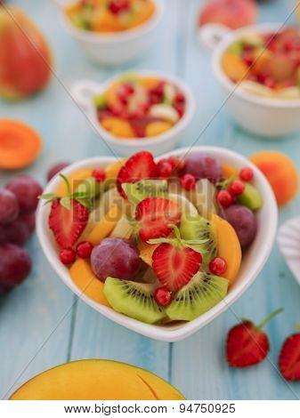 Diet, healthy fruit salad - healthy breakfast, weight loss concept