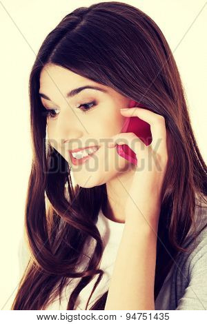 Brunette teen calling to someone