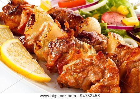 Shashlik - grilled meat and vegetables