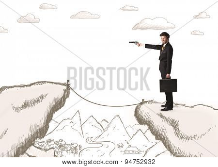 Businessman standing on the hand drawn edge of mountain
