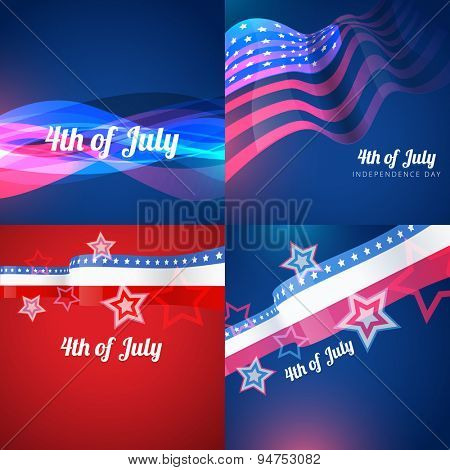 vector creative set of american independence day with creative style wave