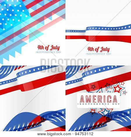 vector creative set of american independence day background of flag design illustration