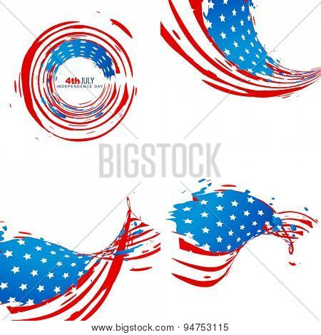 creative collection of american independence day background with stylish wave pattern