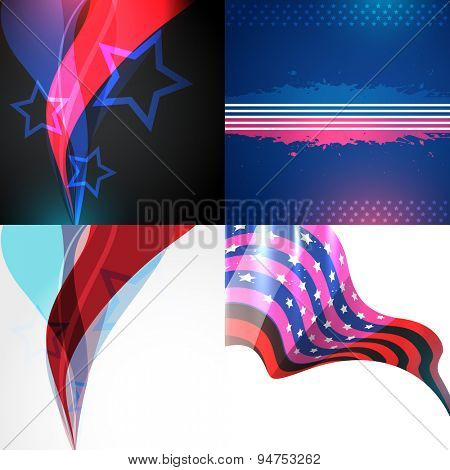 vector collection of american flag design illustration of independence day with wave style