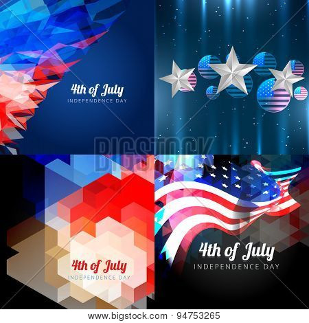vector set of  american independence day background with american flag and creative pattern