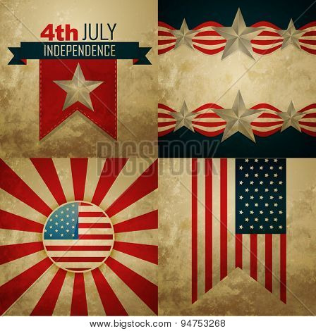vector set of american independence day background illustration in vintage style