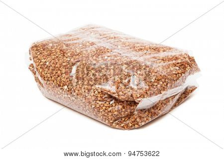 buckwheat in the package on white background