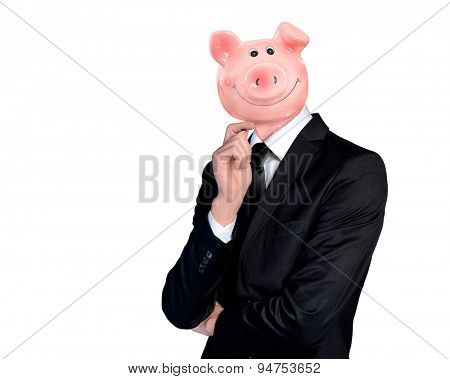 Isolated business man with piggy bank head