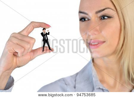 Isolated business woman looking on little man