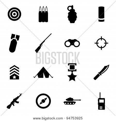 Vector black military icon set